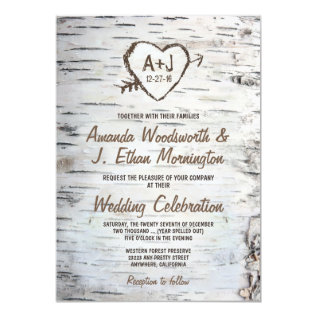 Country Rustic Birch Tree Bark Wedding Invitations at Zazzle
