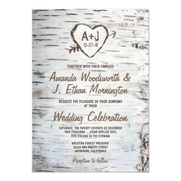 Valentines Themed Country Rustic Birch Tree Bark Wedding Invitations