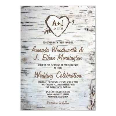 rustic carved tree wood heart wedding invitation zazzlecom - Country Rustic Wedding Invitations