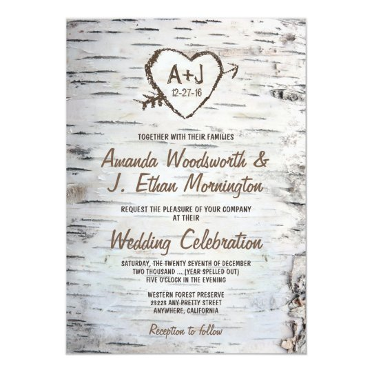 country rustic birch tree bark wedding invitations | zazzle, Wedding invitations