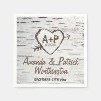 Country Rustic Birch Tree Bark Wedding Napkins