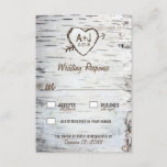 "Country Rustic Birch Tree Bark Wedding RSVP Cards<br><div class=""desc"">Country Rustic Birch Tree Bark Wedding RSVP Cards - features a printed birch bark front and back with a scratched carved heart that you can customize the initials to your own and underneath it,  your wedding date.</div>"