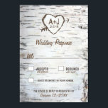 """Country Rustic Birch Tree Bark Wedding RSVP Cards<br><div class=""""desc"""">Country Rustic Birch Tree Bark Wedding RSVP Cards - features a printed birch bark front and back with a scratched carved heart that you can customize the initials to your own and underneath it,  your wedding date.</div>"""