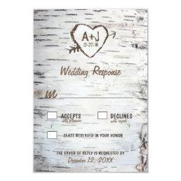 Country Rustic Birch Tree Bark Wedding RSVP Cards