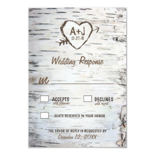 Country Rustic Birch Tree Bark Wedding Rsvp Cards at Zazzle