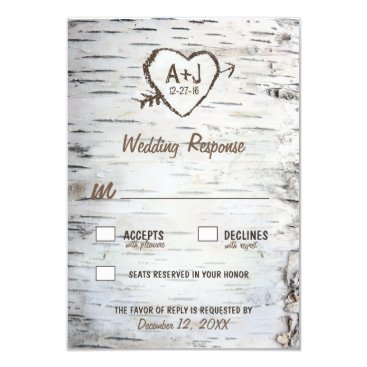 Valentines Themed Country Rustic Birch Tree Bark Wedding RSVP Cards