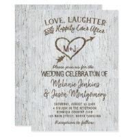 Country Rustic Birch Tree Heart Wedding Invitation