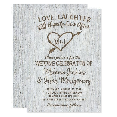 Country Rustic Birch Tree Heart Wedding Invitation
