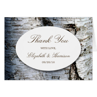 Country Rustic Birch Tree Wedding Thank You Card