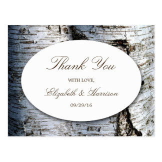 Country Rustic Birch Tree Wedding Thank You Postcard