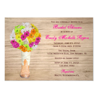 Country Rustic Boots and Daisies Bridal Shower 5x7 Paper Invitation Card