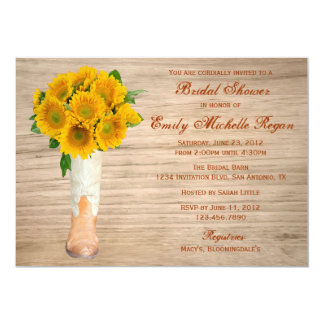 Country Rustic Boots and Sunflowers Bridal Shower Card