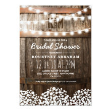 Country Rustic Bridal Shower | String of Lights Invitations