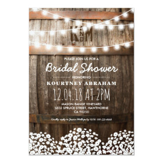 Country Rustic Bridal Shower | String of Lights Card