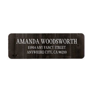 Country Rustic Brown Barn Wood Wedding Labels