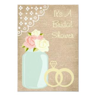 Country Rustic Burlap Lace Mason Jar Bridal Shower Card
