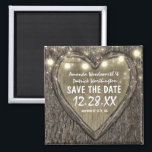 """Country Rustic Carved Oak Tree Save the Date Magnet<br><div class=""""desc"""">Country Rustic Carved Oak Tree Save the Date Magnets - Designs feature string lights over an oak tree bark background with a carved heart and string lights.  See the full matching collection in this design below.</div>"""