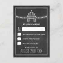 Country Rustic Chalkboard Barn Wedding RSVP Cards