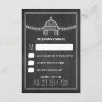 Country Rustic Chalkboard Barn Wedding RSVP Cards