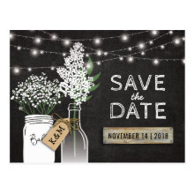 Country Rustic Chalkboard Wood Save the Date Postcards