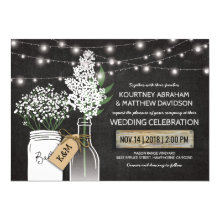 Country Rustic Chalkboard Wood Wedding Invitation