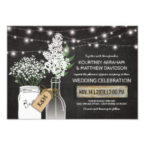 Country Rustic Chalkboard Wood Wedding Card