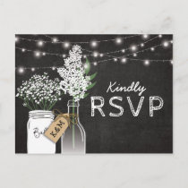 Country Rustic Chalkboard Wood Wedding RSVP Invitation Postcard