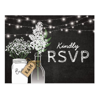 Country Rustic Chalkboard Wood Wedding RSVP Postcard