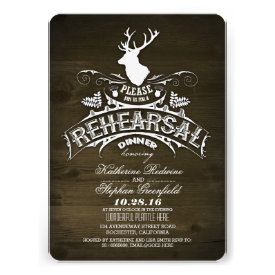Country rustic deer rehearsal dinner invitations announcement