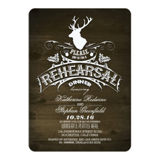 "Country rustic deer rehearsal dinner invitations 5"" x 7"" invitation card"