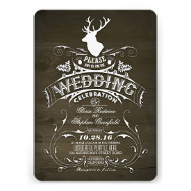 Country rustic deer wedding invitations custom announcements