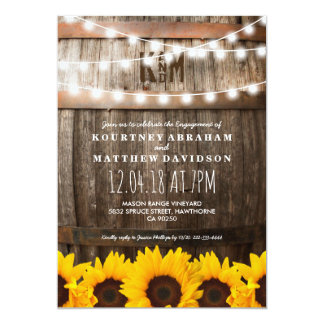 Country Rustic Engagement Party | Sunflowers Card