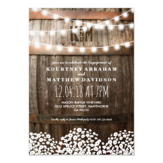 Country Rustic Engagement | String of Lights Card