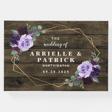 Country Rustic Floral Purple and Gold Wedding Guest Book