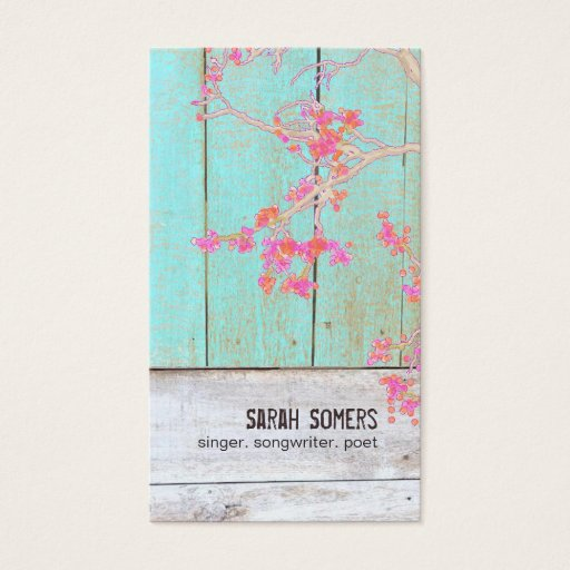 Country Rustic Floral Turquoise Wood Business Card