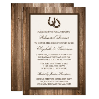 Country Rustic Horseshoe Branch Rehearsal Dinner Card