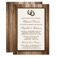 Country Rustic Horseshoe Branch Rehearsal Dinner Invitation