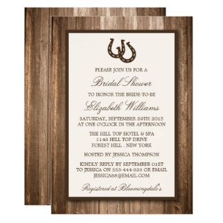 Country Rustic Horseshoe Brown Wood Bridal Shower Card