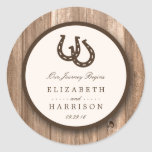 Country Rustic Horseshoe & Brown Wood Wedding Classic Round Sticker