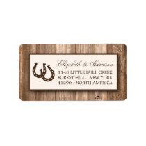 Country Rustic Horseshoe & Brown Wood Wedding Label