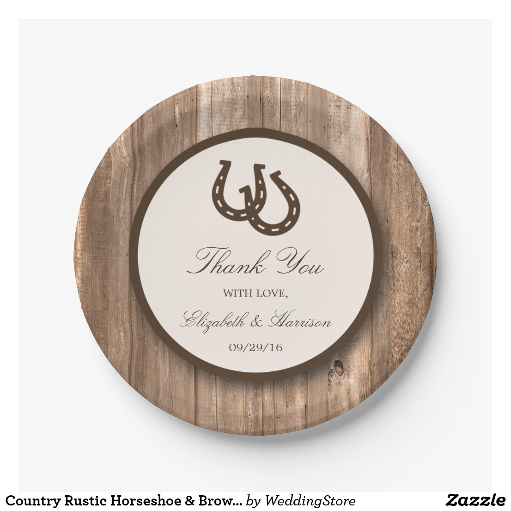 Country Rustic Horseshoe & Brown Wood Wedding