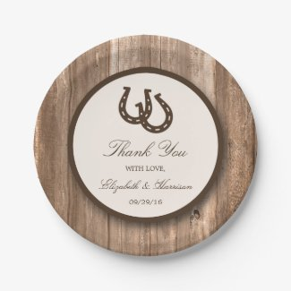 Country Rustic Horseshoe & Brown Wood Wedding