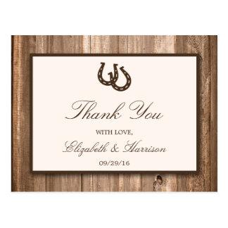 Country Rustic Horseshoe & Brown Wood Wedding Postcard