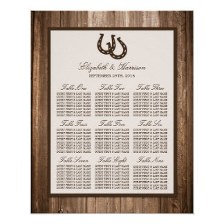 Country Rustic Horseshoe & Brown Wood Wedding Poster