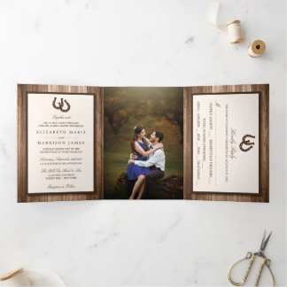 Country Rustic Horseshoe & Brown Wood Wedding Tri-Fold Invitation