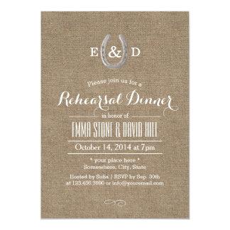 Country Rustic Horseshoe Burlap Rehearsal Dinner 5x7 Paper Invitation Card