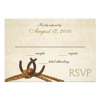 Country Rustic Horseshoes RSVP Invites