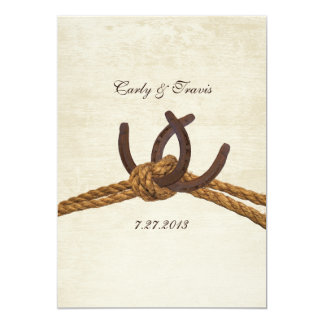 Country Rustic Horseshoes Wedding 5x7 Paper Invitation Card
