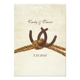"Country Rustic Horseshoes Wedding 5"" X 7"" Invitation Card"