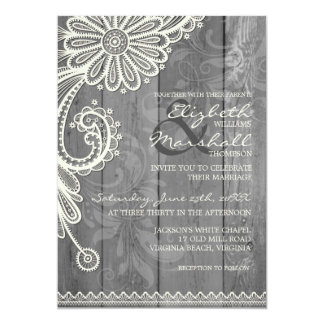 Country Rustic Lace & Wood Floral Wedding Invite